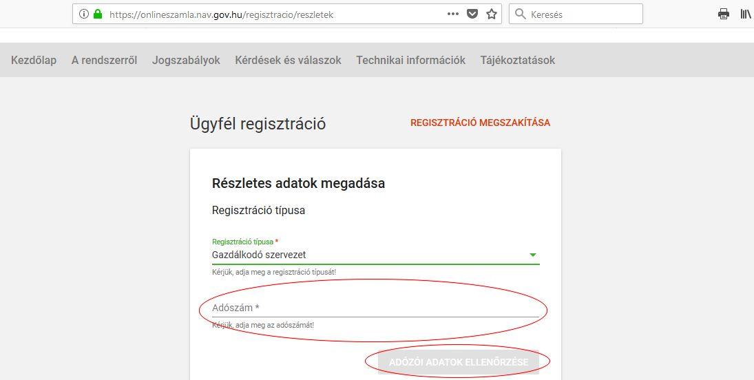 Online számla regisztráció 7 lépés